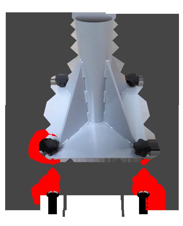 Befestigung am Boden mit einer Grundplatte, 4 Spezialschraubenn und 4 Sicherheitszapfen, die am Boden verankert sind (Widerstandsfähigkeit gegen Herausreißen : 2 x 2,5 Tonnen)